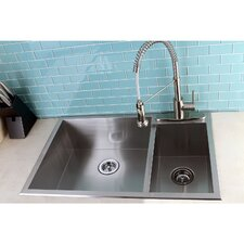 "Uptowne 33"" x 22"" Self-Rimming 70/30 Double Bowl Kitchen Sink"