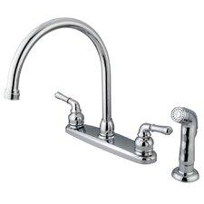 Magellan Double Handle Centerset Kitchen Faucet with Plastic Sprayer