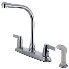 Nuvofusion Double Handle Centerset Kitchen Faucet with Side Sprayer
