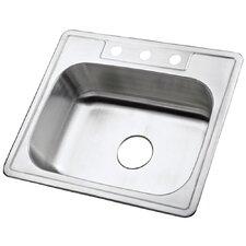 """Carefree 25"""" x 22"""" Single Bowl Self-Rimming Kitchen Sink"""