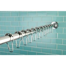 Edenscape Kingston Brass Adjustable 60-72 Inch Shower Curtain Rod with Shower Curtain Roller Ball Rings