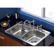 """Carefree 33.63"""" x 22"""" Double Bowl Self-Rimming Kitchen Sink"""