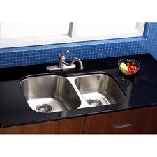 """Bayshore 32"""" x 17.75"""" Gourmetier Double Bowl Undermount Kitchen Sink"""