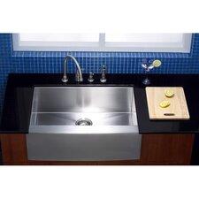 "Denver 30"" x 21"" Gourmetier Single Bowl Farm House Kitchen Sink"
