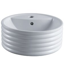 Tower White China Vessel Bathroom Sink with Overflow Hole and Faucet Hole