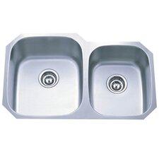 """Loft 20.75"""" x 32"""" Gourmetier Undermount Double Bowl Kitchen Sink"""