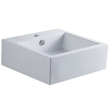 Sierra White China Vessel Bathroom Sink with Overflow Hole and Faucet Hole