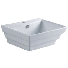 Tahoe White China Vessel Bathroom Sink with Overflow Hole and Faucet Hole