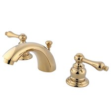 Victorian Double Handle Widespread Mini Bathroom Faucet with Brass Pop-Up Drain
