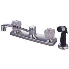 Americana Twin Acrylic Handle Kitchen Faucet with Non-Metallic Spray