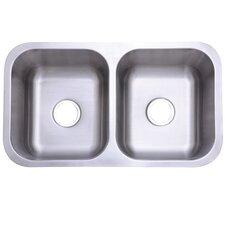 "Marina Gourmetier 32.31"" x 18.5"" Stainless Steel Double Bowl Undermount Kitchen Sink"