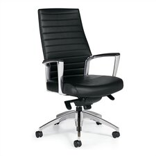 High-Back Leather Managerial Chair with Knee-Tilter
