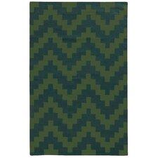 Matrix Green Geometric Rug