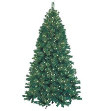 7.5' Green Artificial Christmas Tree with 600 Lights and Stand