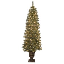 7' Green Artificial Christmas Tree with 200 Lights with Urn Base