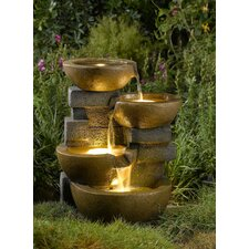 Resin and Fiberglass Zen Tiered Pots Fountain with LED Light