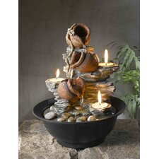 Resin Tavolo Luci Mini Pot Tabletop Fountain with Candle