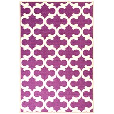 Pink Contemporary Purple Moroccan Trellis Area Rug