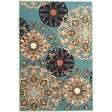 Ottohome Oriental Design Sage Blue Area Rug