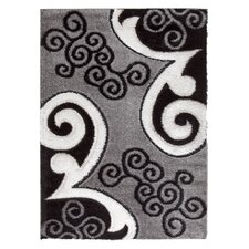Casa Regina Modern Scrolls Design Gray/Black Area Rug
