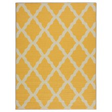 Glamour Machine Woven Yellow Area Rug