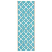 Pink Contemporary Blue Moroccan Trellis Area Rug