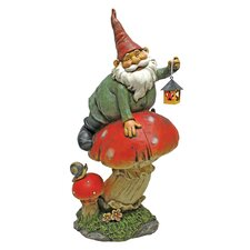 Statue Gnome on Mushshroom with Lantern