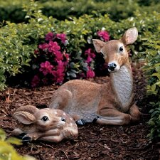 Mother Doe and Fawn 2-Piece Statue Set