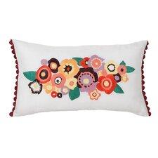 Grandiflora Floral Embroidered Decorative Lumbar Pillow