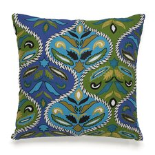 Pondicherry Embroidered Ogee Decorative Cotton Throw Pillow