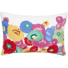 English Bloom Floral Embroidered Decorative Cotton Lumbar Pillow
