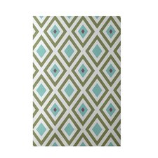 Geometric Aqua Indoor/Outdoor Area Rug