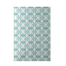 We're All Connected Geometric Print Aqua Indoor/Outdoor Area Rug