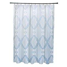 Fishbones Geometric Print Shower Curtain