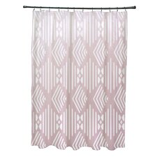 Fishbones Geometric Print Shower Curtain
