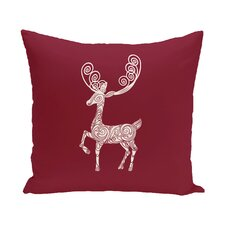 Deer Crossing Decorative Holiday Animal Print Throw Pillow