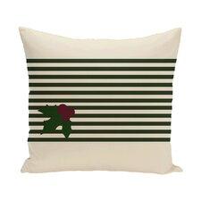 Holly Stripe Decorative Holiday Stripe Print Throw Pillow