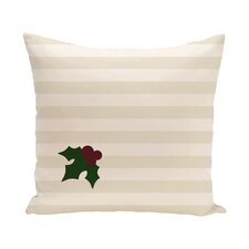 Holly Tones Decorative Holiday Stripe Print Throw Pillow