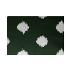 Hol-I-kat Decorative Holiday Ikat Print Dark Green/White Area Rug