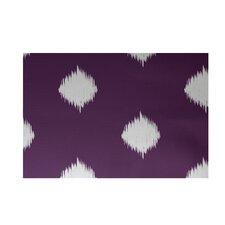 Hol-I-kat Decorative Holiday Ikat Print Purple/White Area Rug