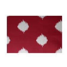 Hol-I-kat Decorative Holiday Ikat Print Red/White Area Rug