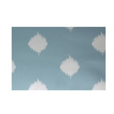 Hol-I-kat Decorative Holiday Ikat Print Light Blue/White Area Rug