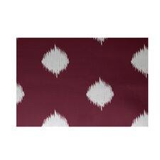 Hol-I-kat Decorative Holiday Ikat Print Cranberry Burgundy/White Area Rug