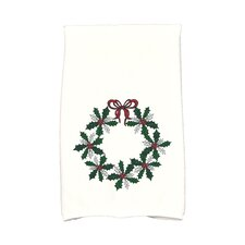 Holiday Wishes Traditional Holly Wreath Hand Towel