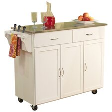 Berkley Kitchen Island with Stainless Steel Top