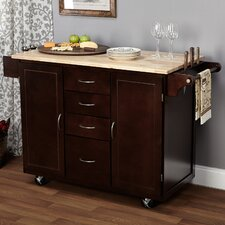Cottage Kitchen Island with Wooden Top