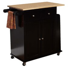 Lana Kitchen Cart with Wooden Top