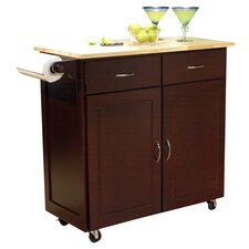 Venice Kitchen Island with Wood Top