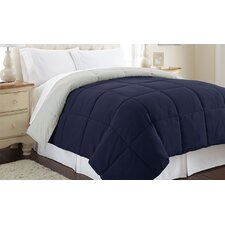 Sanctuary by PCT Down Alternative Reversible Comforter in Dark Blue & Silver