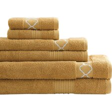 6 Piece Quatrefoil Egyptian Quality Cotton Towel Set